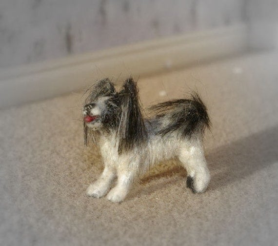 Dollhouse miniature dog little clay furred papillion pet