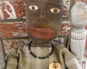 "24"" Primitive Grungy Black Folk Art Mammy Doll from reImagined Store"