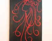 Lady of the Red District - Red on Black acrylic Painting 4ft x 2ft