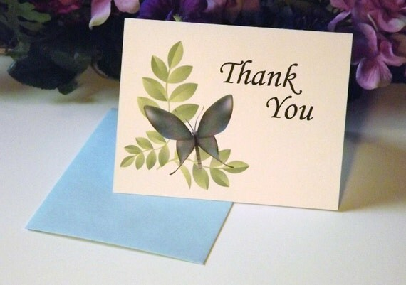 White Butterfly Thank You Cards with green leaves, Set of 10- Handmade A2 Envelopes