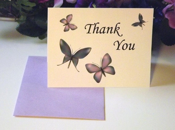 White Butterfly Thank You Cards, Set of 10- Handmade A2 Envelopes