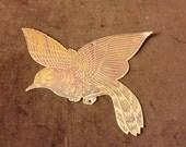 Vintage Flat Brass Bird in Flight Wall Hanging