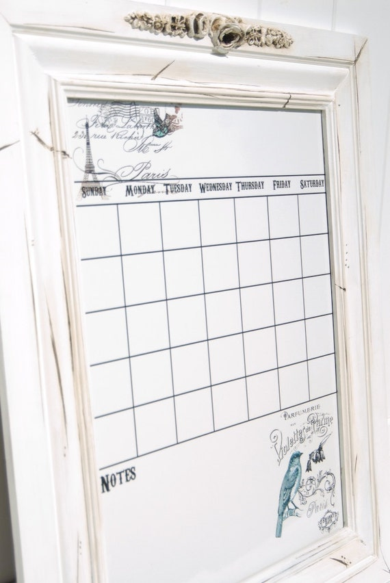 Large Paris French inspired vinyl dry erase magnet calendar wall decor ...