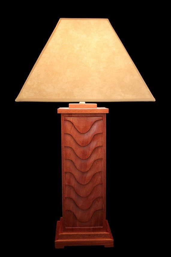 hand carved mahogany table lamp by milesburkestudio on etsy. Black Bedroom Furniture Sets. Home Design Ideas