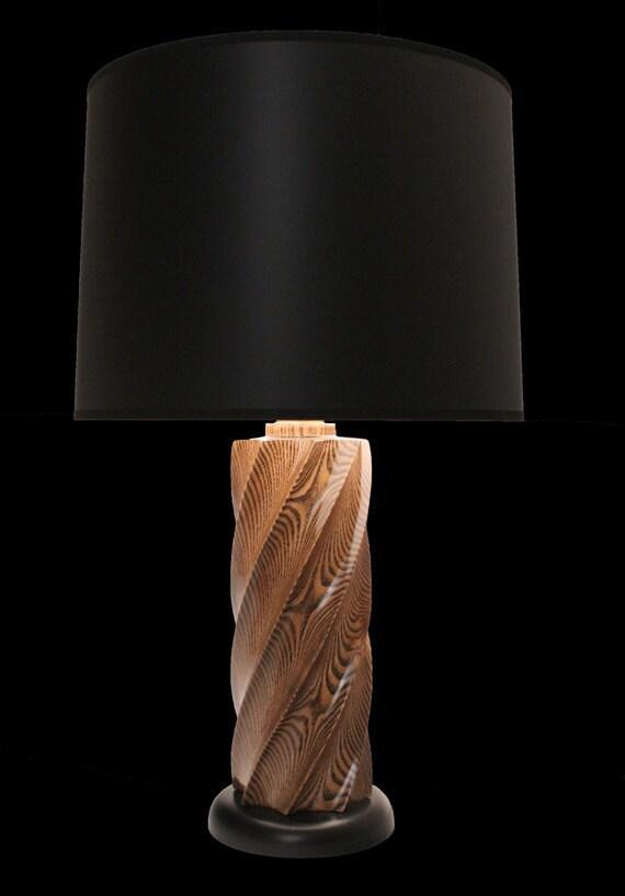 hand carved sassafras table lamp. Black Bedroom Furniture Sets. Home Design Ideas