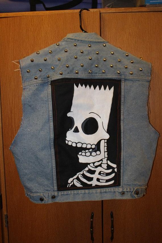 Bart Simpson skeleton patch on studded denim vest