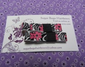 Handmade Zebra Pink Flowers and Black Grosgrain Bow Tie Hair Clips Set of 2
