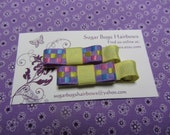 Handmade Yellow Grosgrain and Purple Checkered Bow Tie Hair Clips Set of 2