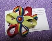 Handmade Rainbow Yellow Red Hair Clip Bow