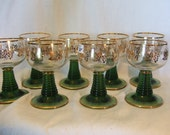 8 GOLD PLATED Kaap's wine glasses green and gold