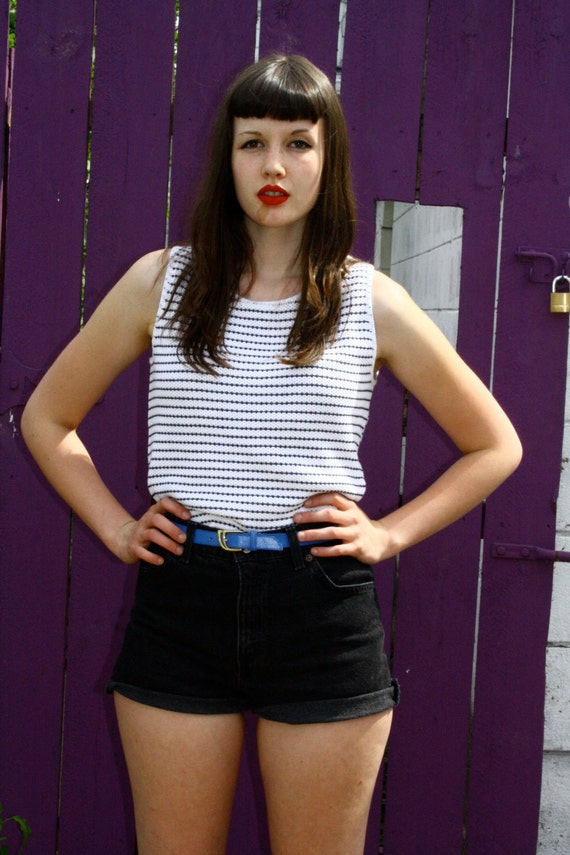 RESERVED for TRASHCANDY 80s Black and White Striped Sleeveless Knitted Shirt