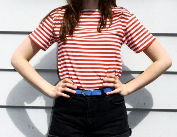 80s Red and White Striped Sailor T-Shirt