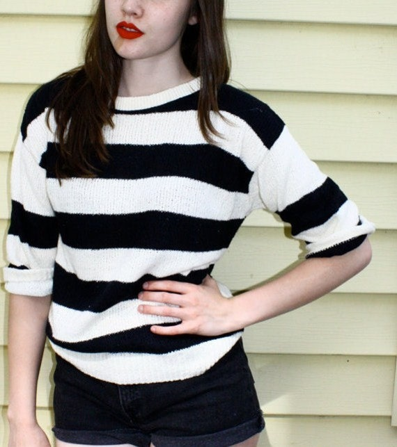 80s Black and White Striped Knitted Sweater