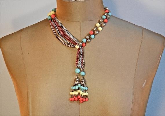 60s Ethnic Hippie Boho Three Color Chain Lariat