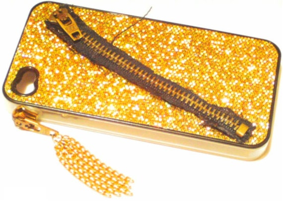 iPhone 4 Case Cover Hard Gold Glitter Sparkle Mesh Fabric Zipper Chain Tassle One of a Kind Clear Sides OOAK