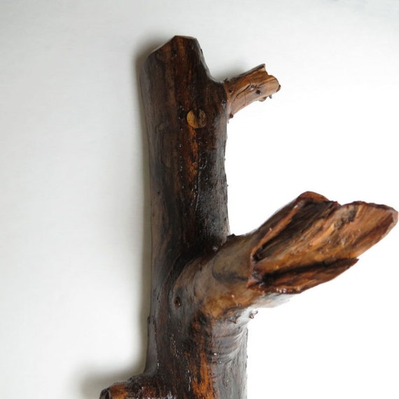 Rustic Wood Hook - Decorative wooden hook - For coat,  jewelry or key