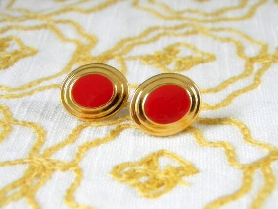 SALE Vintage Gold & Red Enamel Stud Earrings