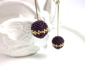 Frosted Amethyst (Purple)  Beaded Bead with Gold Pattern Dangle Earrings