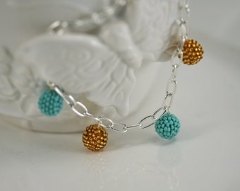 Turquoise & Gold Beaded Beads Bracelet