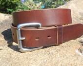 Walnut Brown Full Grain 1 1/2 inch Wide Leather Belt Size 40in.  w/Solid Stainless Steel Buckle