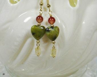 Turquoise Heart Dangle Earrings