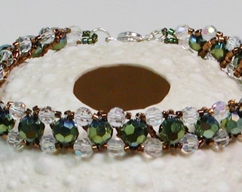 Crystal Bracelet, Dark Green and Clear