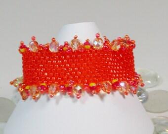 Tangerine Bead woven Bracelet