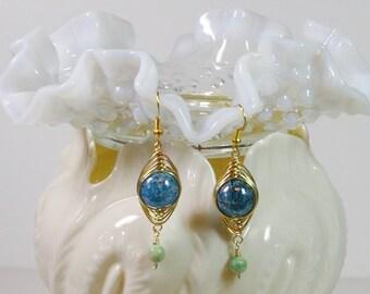 Wire Wrapped Earrings, Dangle, Blue