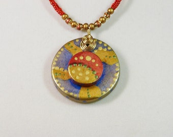 Painted Clay Abstract Necklace