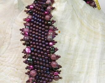 Bead Woven Bracelet, Bead Weaving Bracelet, Seed Bead Bracelet, Plum Bracelet