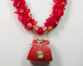 Felted Necklace in Tangerine and Red Sponge Coral with Wire Wrapping