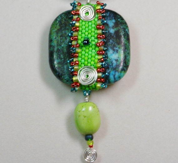 Turquoise Pendant Necklace with Wire Wrapped accents and Bead Woven band