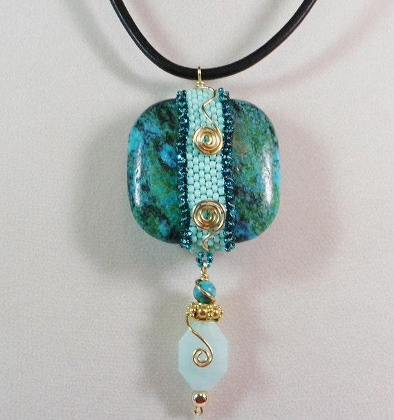 Pendant Necklace in Turquoise with wire wrapped accents and Bead Woven band