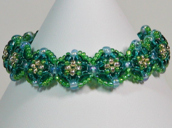 Turquoise and Silver Pillow Seed Bead Bracelet