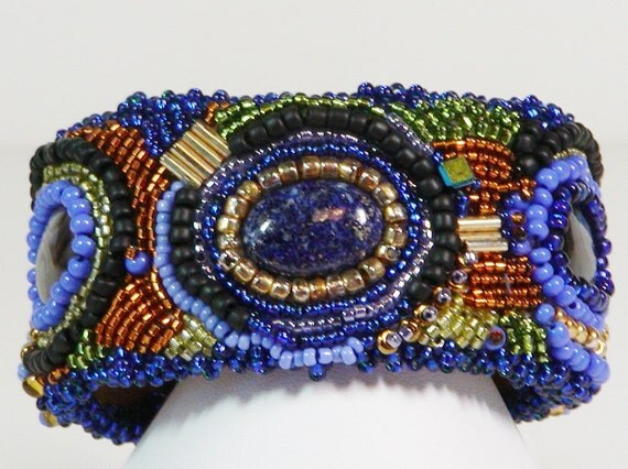 Bead Embroidered Bracelet, Seed Bead Embroidered Bracelet, Embroidered Cuff Bracelet, Lapis Bracelet