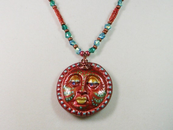 Hand Painted Copper Sun Necklace