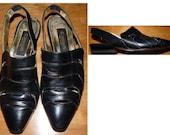 SALE  black Classiques  shoes heels mules slides peek-a-boo cut-outs flats      Size 6 B