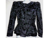 sparkling black velvet coat jacket top dressy by Pantagis Petites  3/4