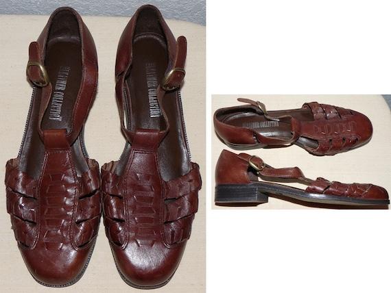 SALE  vintage   woven braided huaraches sandal shoes Size 7 1/2  weave