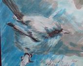 RESERVED FOR LAUREN :) Chubby Little Blue Bird Drawing