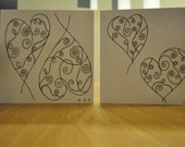 Four pack of beautiful handmade swirly heart cards with diamante detailing