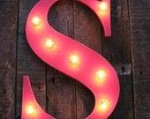 "18"" Wood letter  light, distressed, wedding decor, vintage chic, home decor"