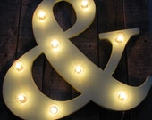 "24"" Wood letter light, wedding decor, distressed, vintage chic, home decor"
