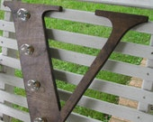 """18""""  Stained wood letter, light, wedding decor, vintage chic, home decor"""