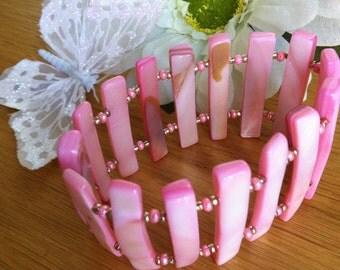 Stretch Bracelet /Pink Shell/ Stretchy Cuff Bracelet/Stocking Fillers