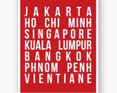 Bus Roll Print - Southeast Asian Cities Singapore Kuala Lumpur Bangkok Jakarta - Red and White Choose Your Colors - 8x10 Custom Art Print