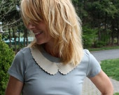 """The """"Peggy"""" top - Fashion Slate Grey T shirt with Ultrasuede Peter Pan Collar"""