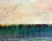 """Large ORIGINAL Painting Abstract Art Modern Contemporary Landscape Ready to Hang 24""""x48"""" Hindsight"""