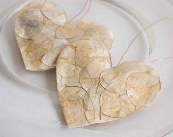 Ivory, cream hanging love heart decoration set of 2, hanging Valentine hearts, Wedding hearts decorations
