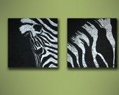 Zebra - original acrylic impasto painting on canvas - size 30 cm x 30 cm x 3 cm